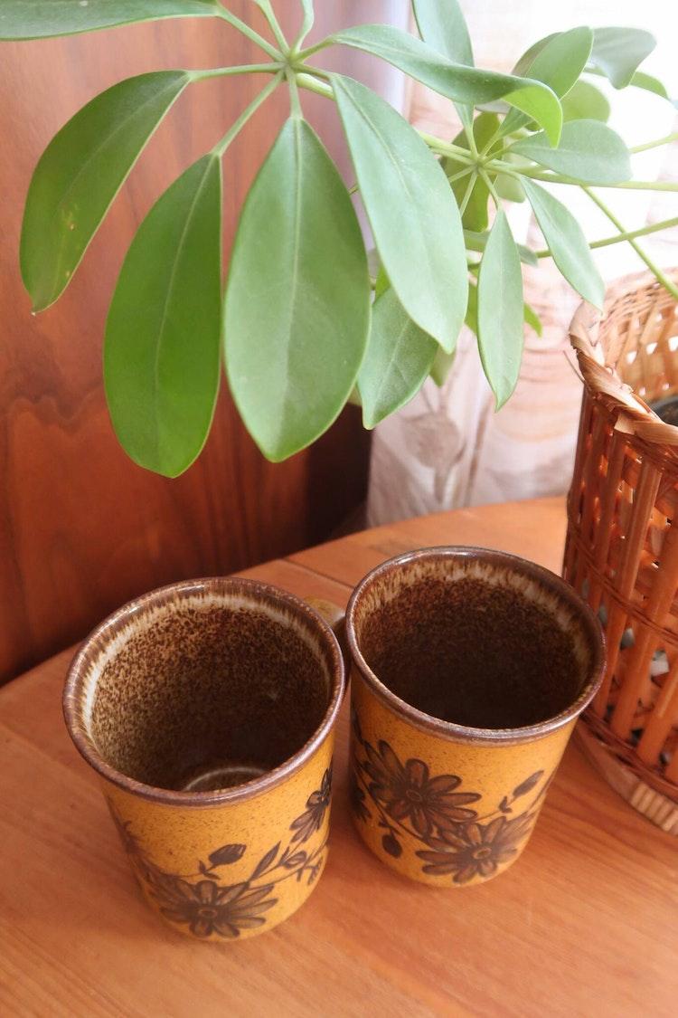Två bruna muggar med blommor
