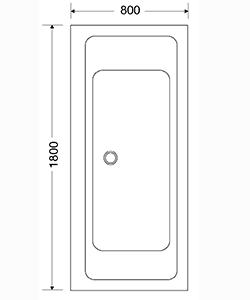 NORDHEM SALTHOLMEN 1800x800x590 VIT STANDARD LIKSIDIG ENKEL
