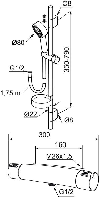 Shower kit MORA MMIX