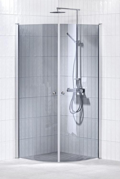 Lusso duschhörna (svängd) Grå 100x100