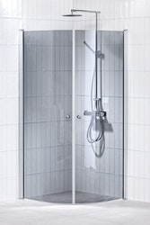 Lusso duschhörna (svängd) Grå 80x80