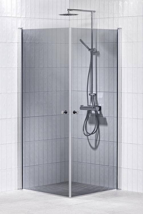 Lusso duschhörna (rak) Grå 90x90