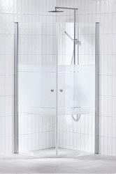 Lusso duschhörna (svängd) Frost 80x80