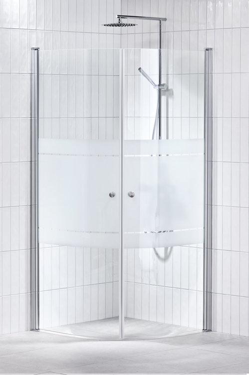 Lusso duschhörna (svängd) Frost 90x90