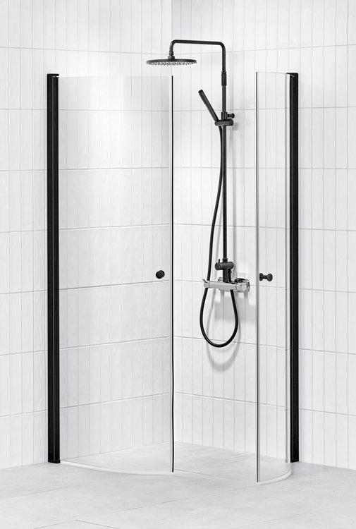 Lusso duschhörna (svängd) Black 80x80