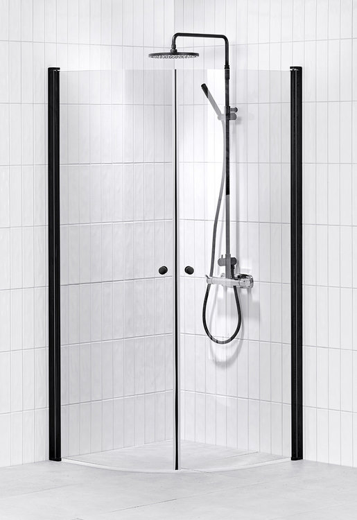 Lusso duschhörna (svängd) Black 90x90