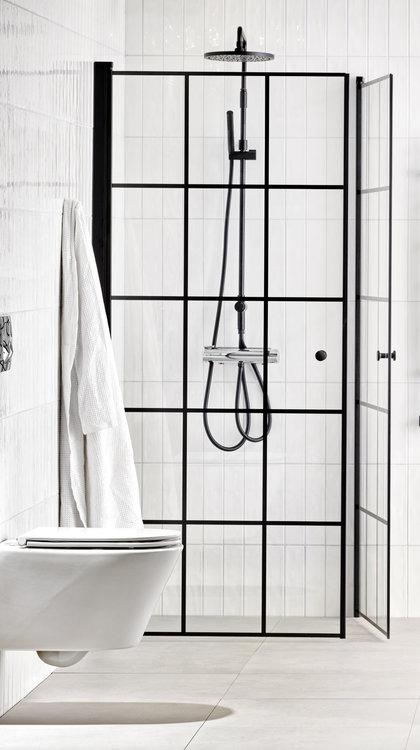 Lusso duschhörna (rak) Black 80x80