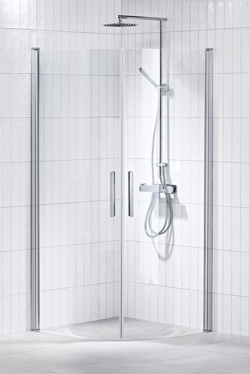 Lusso duschhörna (svängd med handtag 1) Klar 90x90