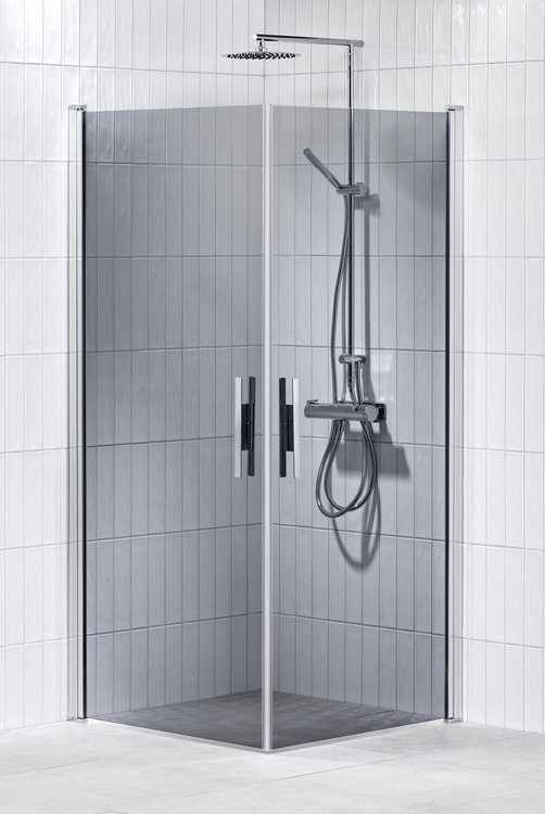 Lusso duschhörna (rak med handtag 1) 80X80 Grå