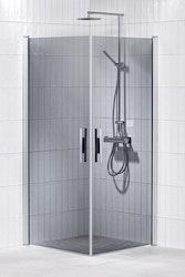 Lusso duschhörna (rak med handtag 1) 80X90 Grå