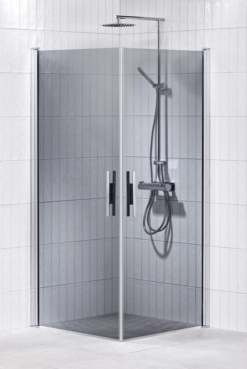 Lusso duschhörna (rak med handtag 1) 90X90 Grå