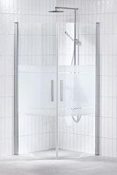 Lusso duschhörna (svängd med handtag 1) 80X80 Frost