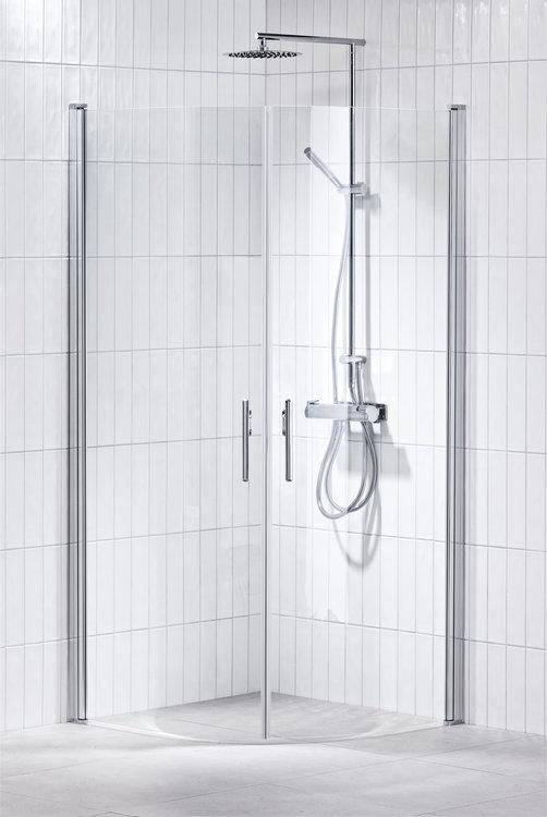 Lusso duschhörna (svängd med handtag 2) 80X80 Klar