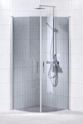 Lusso duschhörna (svängd med 2 handtag) 80X80 Grå
