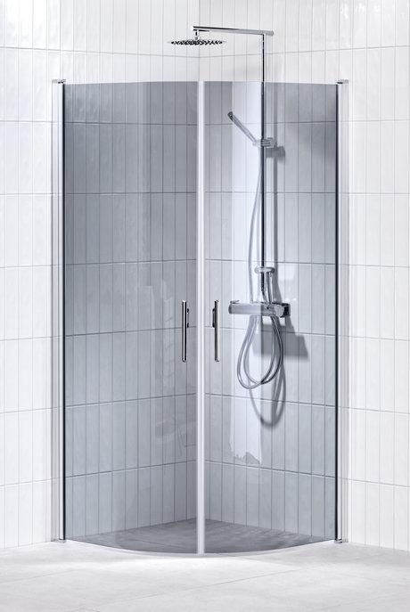 Lusso duschhörna (svängd med 2 handtag) 80X90 Grå