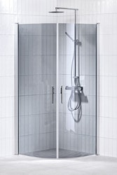 Lusso duschhörna (svängd med 2 handtag) 100X100 Grå