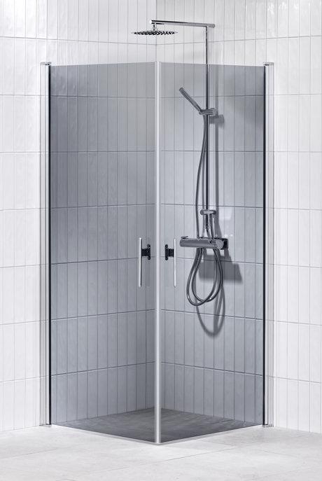 Lusso duschhörna (rak med 2 handtag) 80X80 Grå