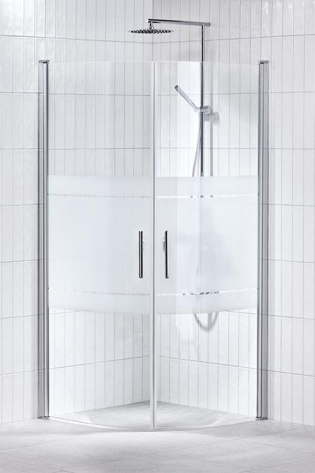Lusso duschhörna (svängd med handtag 2) 80X80 Frost