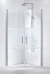Lusso duschhörna (svängd med 2 handtag) 90X90 Frost
