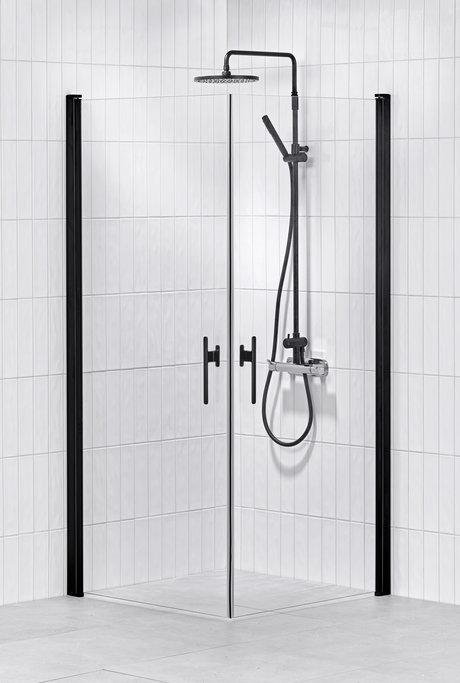 Lusso duschhörna svart (rak med 2 handtag) 80X80 Klar