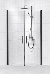 Lusso duschhörna (svängd med 2 handtag) 80X80 Klar