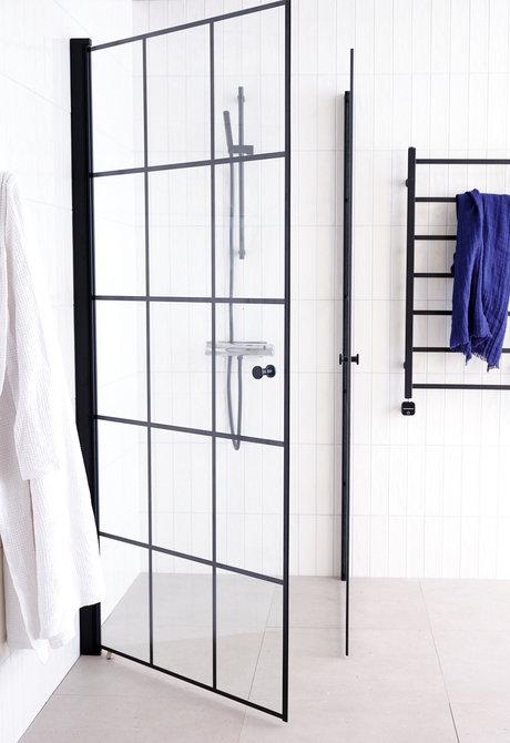 Lusso duschhörna (rak med 2 handtag) 80X80 Svart