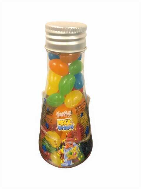 En flaska med jelly beans.