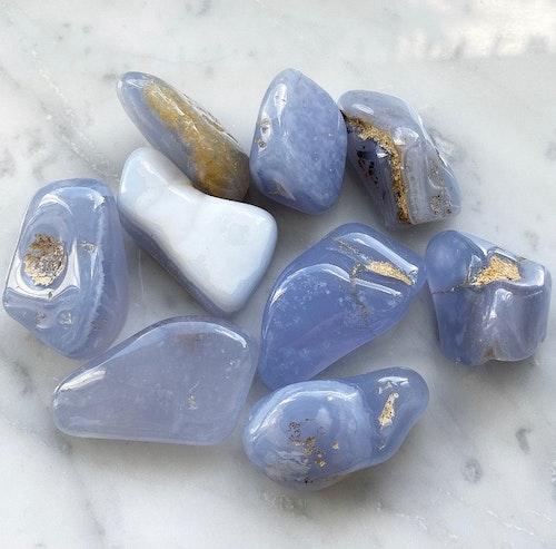 Blå kalcedon | Tumlad sten