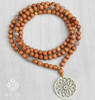 Sandalwood x Moonstone Mala