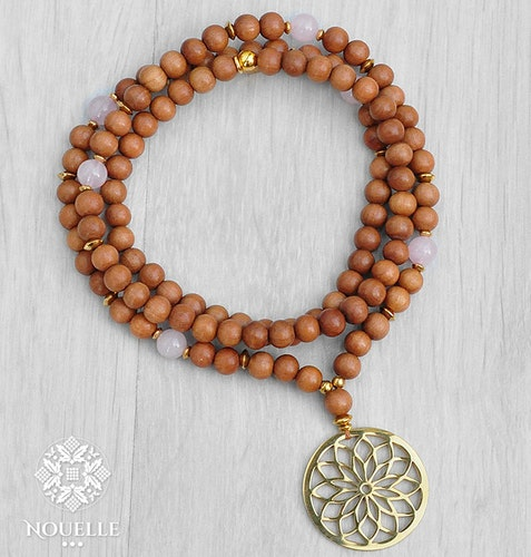 Sandalwood x Rose Quartz Mala