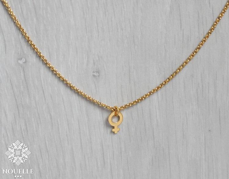 Halsband - Kvinnosymbol Stål Guld