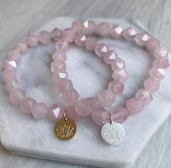 Lotus Armband - Rosenkvarts