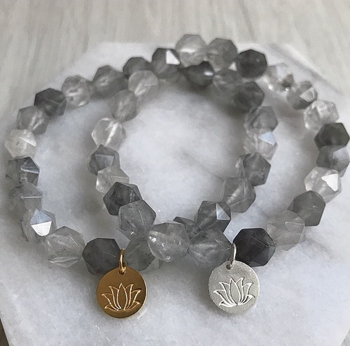 Lotus Armband - Cloudy Quartz