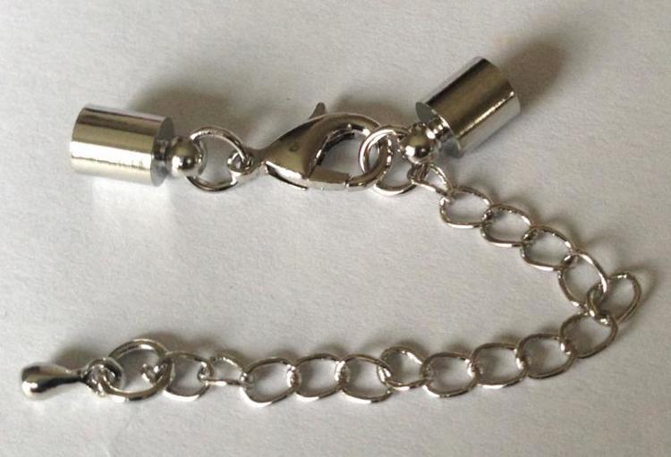 Silverfärgade lås 4 mm med runda fästen, 10 st