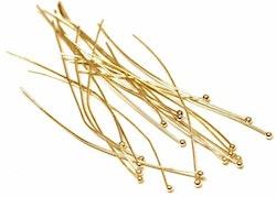 Guldfärgat rostfritt stål hattpinnar med kula, ca 50 st