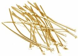 Guldfärgat rostfritt stål hattpinnar 5 cm, ca 50 st