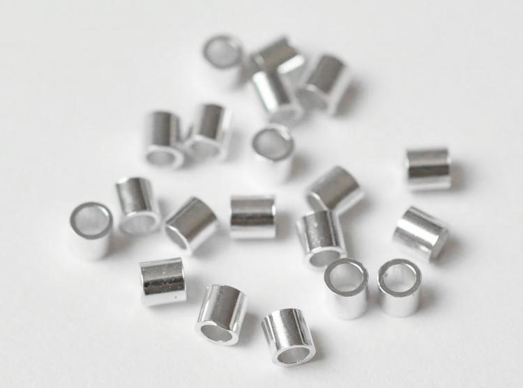 Sterling silver klämpärlor, 10 st