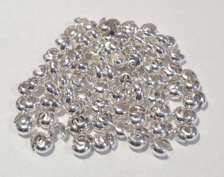 Silverfärgade knutgömmor 3 mm, 20 st