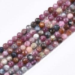 Facetterad rubin och safir 2.5 mm, 1 sträng