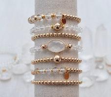 Armband - Bergkristall med hematit