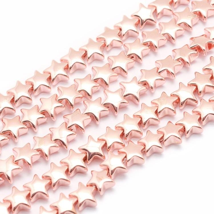 Roséfärgad hematit, stjärnor 8 mm, 10 st