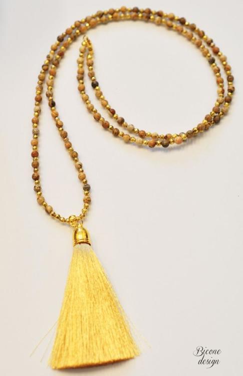 Jaspis gul/bruna 3 mm, 1 sträng