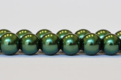 Vaxade glaspärlor 10 mm mörkgröna, 1 sträng