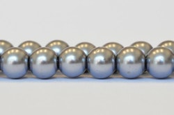 Vaxade glaspärlor 10 mm ljusgrå, 1 sträng