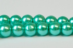 Vaxade glaspärlor 10 mm blågrön, 1 sträng