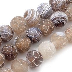 Frostad agat brunmelerad 8 mm, 1 sträng