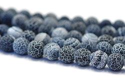 Frostad agat 8 mm gråblå, 10 strängar