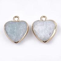 Guldfärgad berlock hjärta amazonite, 1 st