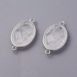 Antikfärgad connector bergkristall, 1 st