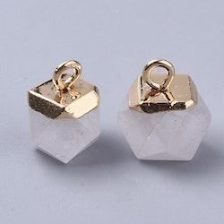 Guldfärgad facetterad berlock bergkristall, st